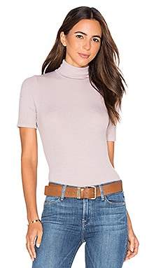 Cleo Short Sleeve Turtleneck in Ballet Pink
