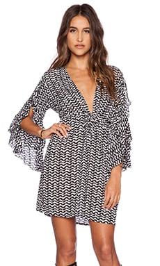 Tiare Hawaii Lily Longsleeve Mini Dress in Black & White Interlock