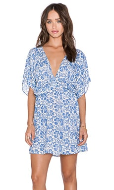 Tiare Hawaii Liana Mini Dress in Cream & Blue Batik