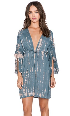 Tiare Hawaii Lily Mini Dress in Blue, Grey & Skin Sabia