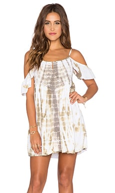 Tiare Hawaii Somerset Mini Dress in Beige Tie Dye