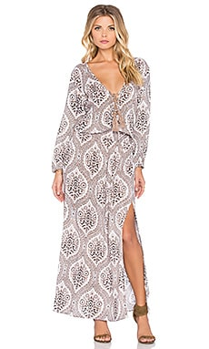 Tiare Hawaii Kalani Maxi Dress in Brown Amor Print