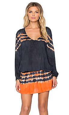 Tiare Hawaii Becky Dress in Black & Orange