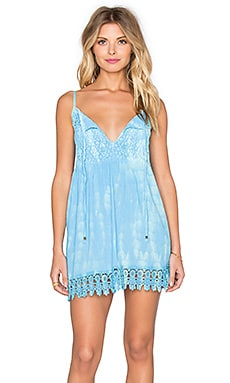 Azul Lace Hem Dress in Sky & Blue Tie Dye