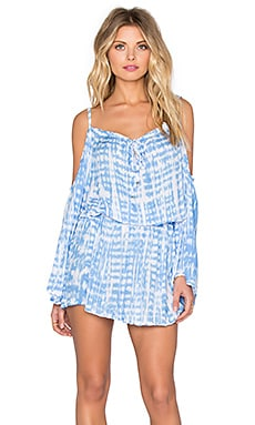 Tiare Hawaii Kauai Dress in Raffia Sky & White