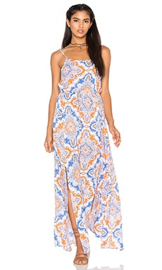 Mimosa Maxi Dress en Mosaic Blue & Orange & Grey