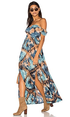Hollie Off The Shoulder Maxi Dress in Blue Stone & Black Diamond