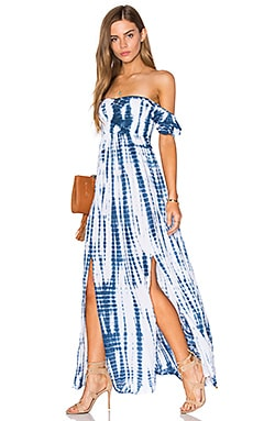 Tiare Hawaii Hollie Off The Shoulder Maxi Dress in White & Navy Sabia