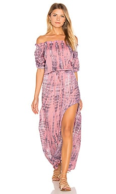 Sage Off Shoulder Dress en Leo Pink Stone
