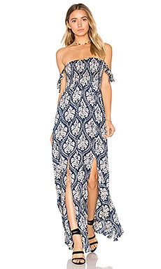 Hollie Maxi Dress in Damask Navy & Cream