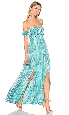 Hollie Maxi Dress in Aqua & Grey Tie Dye
