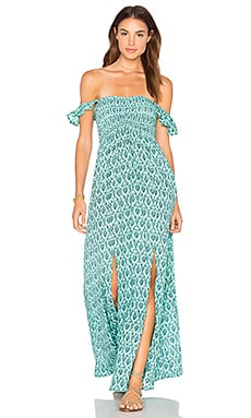 Hollie Off The Shoulder Maxi in Turkish Teal
