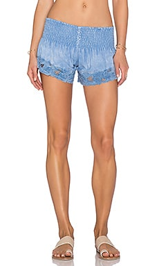 Tiare Hawaii Eyelet Shorts in Chambray Blue
