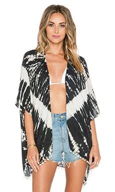 Tiare Hawaii Pom Pom Kimono in Black & Cream Vibe