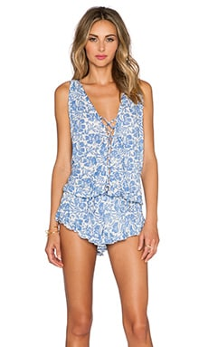 Tiare Hawaii Barrier Romper in Cream & Blue Batik
