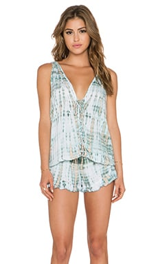 Tiare Hawaii Barrier Reef Romper in Stone, Fawn & White