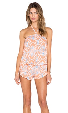 Tiare Hawaii Lulu Romper in Peach & Blue Lombok