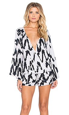 Tiare Hawaii Inka Jumpsuit in Black & White V Tie Dye