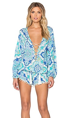 Kalani Lace Up Romper in Mosaic Blue & Teal & Green