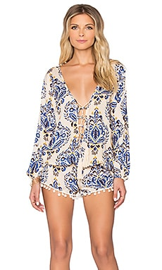 Kalani Lace Up Romper in River Cream & Blue