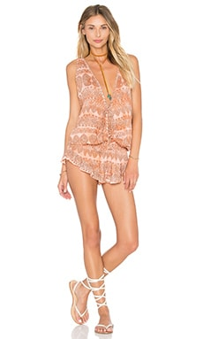 Barrier Reef Romper in Gypsy Rose Peach & Stone