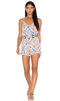 Tiare Hawaii Peacock Romper in Mosaic Blue & Orange & Grey