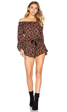 Montana Romper in Wildflower Black & Red