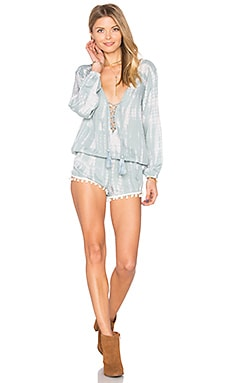 Kalani Lace Up Romper in Grey & Cream Tie Dye