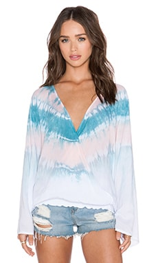 Tiare Hawaii Monsoon Top in White, Peach & Teal Tie Dye