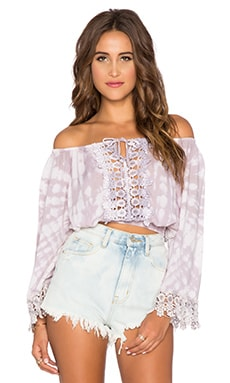 Tiare Hawaii Flow Crop Top in Cream and Grey Sabia