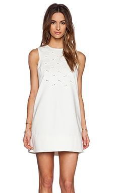 Tibi Lanyard Embroidery Shift Dress in Ivory
