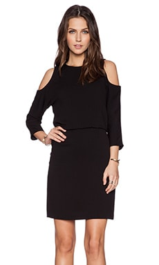 Tibi Savanna Cut Out Shoulder Dress in Black