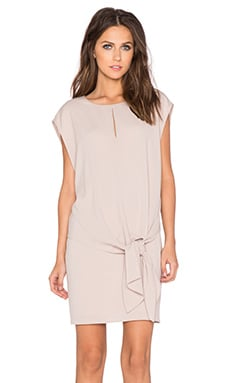 Tibi Savanna Double Layer Tie Front Dress in Blush