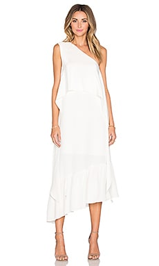 Tibi One Shoulder Ruffle Dress in Ivory