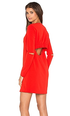Tibi Slim Shirred Panel Dress in Scarlet Red