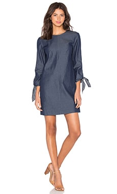 Tibi Tie Sleeve Dress in Steel Denim
