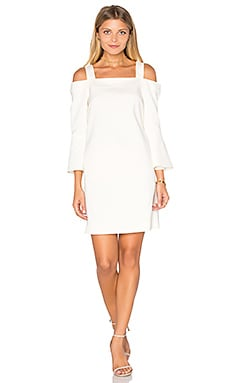 Tibi Off Shoulder Lantern Sleeve Dress in Ivory