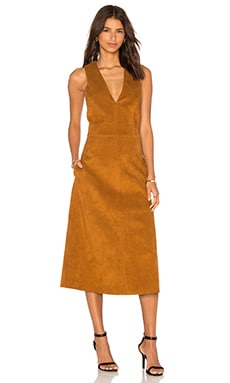 Deep V Neck Overall Dress in Cinnamon Brown