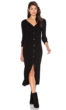 V Neck Decolate Dress en Noir