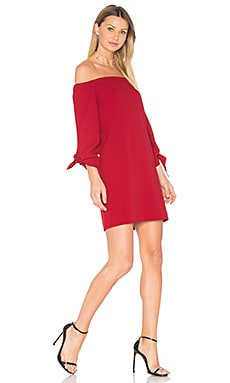 Off Shoulder Tie Sleeve Dress in Crimson Red