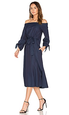 Off Shoulder Belted Midi Dress in Perfect Denim Blue