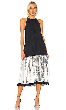 Tibi Tish Embossed Sleeveless Dress In Black Revolve