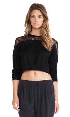 Tibi Cropped Lace Sweater in Black