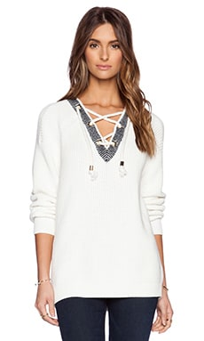 Tibi Plaited Half Lace-Up Pullover in Ivory Multi