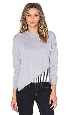 Tibi Asymmetric Mixed Pullover in Heather Grey Multi
