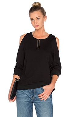 Tibi Cut Out Sweatshirt in Black
