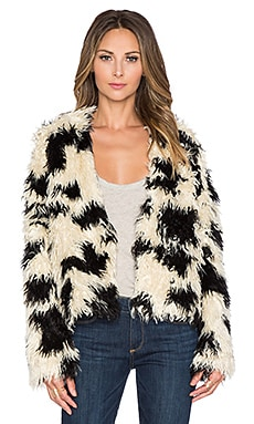 Tibi Suka Faux Fur Jacket in Ivory & Black