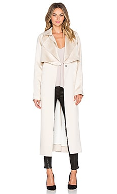 Tibi Soft Trench Coat in Sand & White Multi