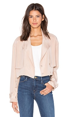 Tibi Cropped Moto Jacket in Morro Sand
