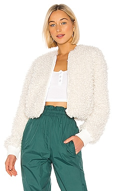Faux Curly Lamb Cropped Bomber Tibi $237